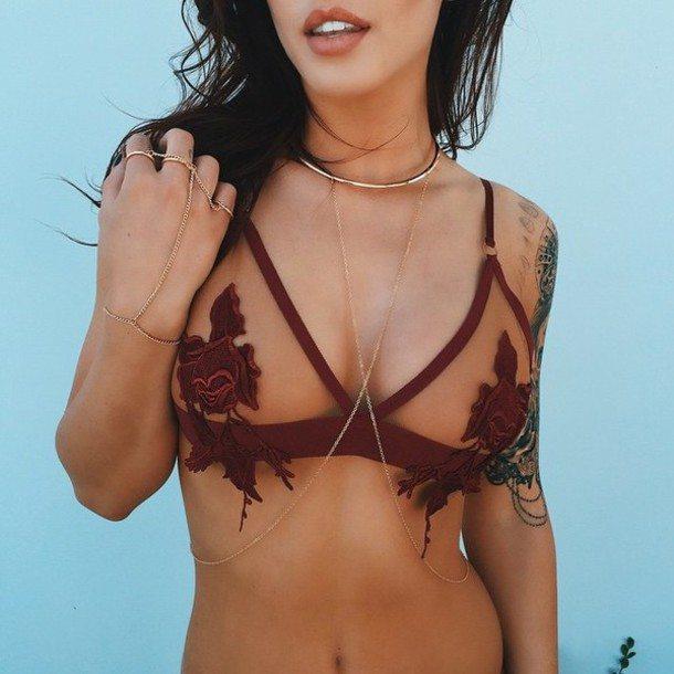 o513mu-l-610x610-underwear-underwire+bra-rose-flowers-floral-red-mesh-mesh+bra-bodychain-body+chain-tattoo-gold-hand+chain-american+apparel-urban+outfitters-triangle+bra-bralette-strappy+bra-bralet